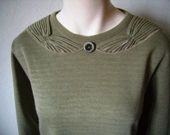 sweater woman 40/42, french vintage, olive green sweater,.