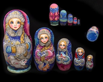 Exquisite 5 pcs Russian Nesting Doll #3566 THE SNOW MAIDEN