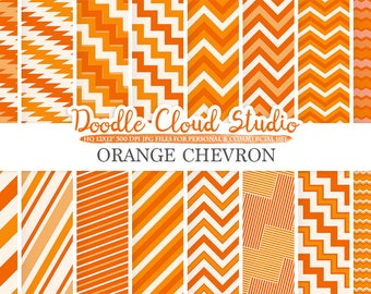 Orange Chevron digital paper, Chevron and Stripes  pattern, Zig Zag lines background, Instant Download for Personal & Commercial Use