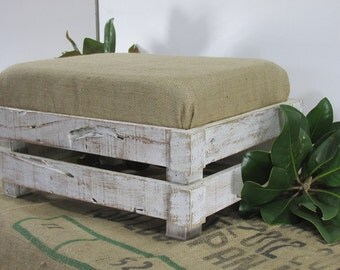 Farmhouse Style Shabby Chic Footstool, Rustic Ottoman, Ottoman, Rustic Furniture, Reclaimed Wood Footstool, Coastal Beach Decor
