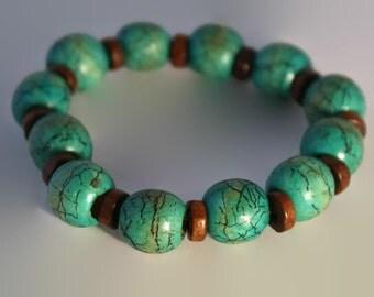 Mens beaded bracelet, turquoise wood bracelet, wooden bracelet, turquoise surfer bracelet, chunky wood bracelet, beaded bracelet.