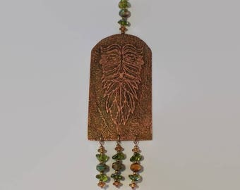 Green man wall hanging, etched copper green man wall hanging, pagan wall art, copper art, etched copper, green man art, garden art.