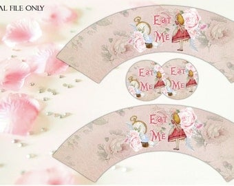 Alice in Wonderland Eat Me Cupcake Wrappers with 2 inch circles - Printable,Download,Party Decorations,Toppers,Wedding