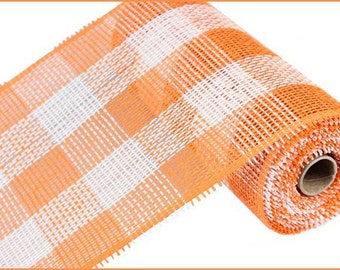 "10""X10yd Orange/White Woven Check Paper Mesh/Wreath Supplies/Paper Mesh/RR800241"