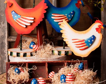 Americana Hens-Set of 3/ Wreath Supplies/Patriotic Decor/Fourth of July Decor/A7004