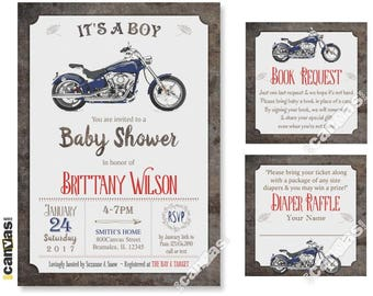 MOTORBIKE BABY Shower Invitation. Motorcycle Baby Shower Invites. It's A Boy Baby Shower. Retro Baby Boy Shower Invite. Bike Baby Shower 159