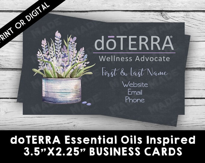 PRINTED - doTERRA ESSENTIAL OILS Lavender Business Card, Marketing Tools, Printable, Business Stationery, Calling Cards, Direct Sales