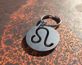 Stainless Steel Leo Keychain, Zodiac Keychain, Astrology Keychain, Horoscope Keychain