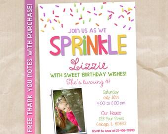 Sprinkle birthday invitation / sprinkle printable invitation / sprinkle invitation with picture