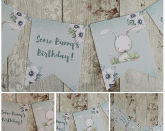 Blue Some Bunny's Birthday Bunny Rabbit Bunting Banner - , Party,Birthday,1st