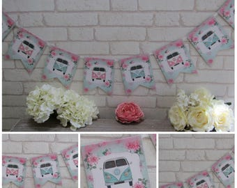 Retro Shabby Chic Campervan  Bunting Banner Garland ,Birthday,Party