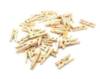100 mini clothespins color wood 25mm