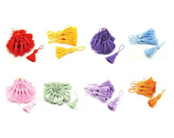 10 charms PomPoms in silk 4.5 / 5cm 8 color choices
