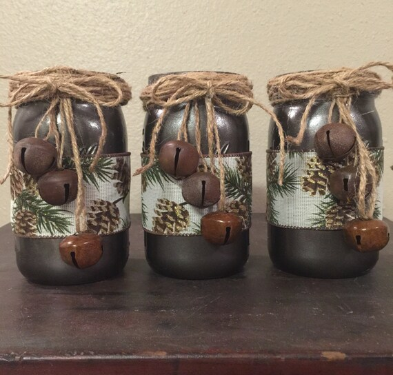 Mason Jar Christmas Decorations: Rustic Christmas Centerpieces Mason Jar Home Decor Christmas