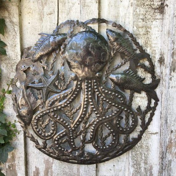 """Octopus with Fish, Recycled Metal Ocean Wall Art, Haitian Art indoor outdoor 23"""" x 23"""""""