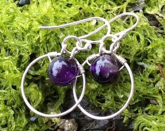 Amethyst Earrings, silver earrings, wirewrap earrings, hoop earrings, Natural Jewelry, gift idea, Gifts for Her