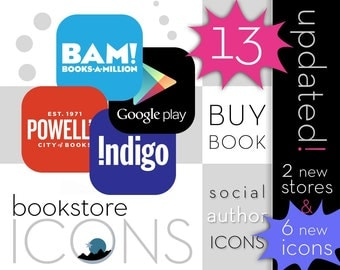 Flat Square Bookstore Icons for Authors & Book Bloggers // instant download