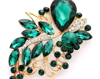 Rhinestone Emerald Green Brooch, Gold Green Brooches, Green Bridal Brooch, Green Wedding Brooch, Dark Green Gold Brooches