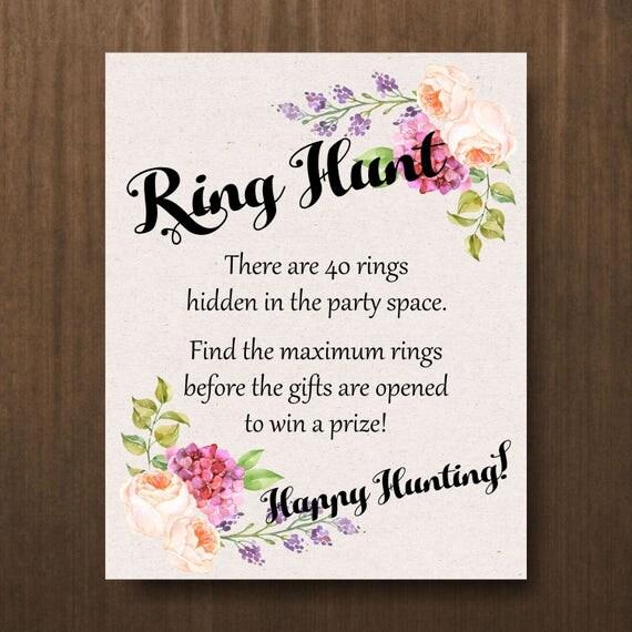 Ring Hunt Bridal Shower Game Bachelorette Party Floral