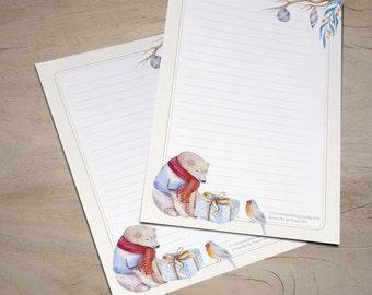 Winter Bear - printable writing paper