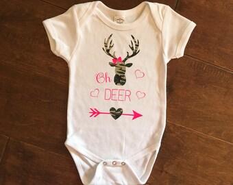 """Girls Camo """"Oh Deer"""" bodysuit"""