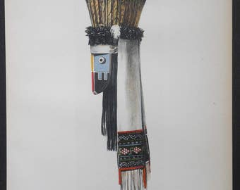 1904 ZUNI Mask of the Shumaikoli of the Zenith. Antique Lithograph. Native American Ceremonial Objects by Hoen. Original Print.