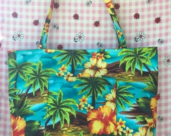 Tropical Print Tote Bag- Large bag- Great for everyday use