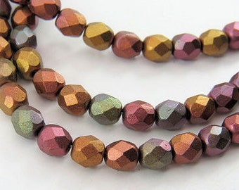 6MM Metallic Czech Glass Beads Mixed Colors Opaque Round Faceted Fire Polished Copper Bronze Gold Gunmetal Strand of 40 Beads PRE6MMMET004