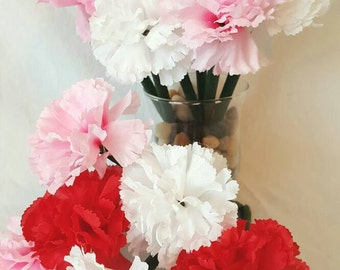 12 Carnations Floral Pen Bouquet. Red, White, and Pink Carnation Flower Pens! Mother's day. Birthday. Office and Work Supplies.