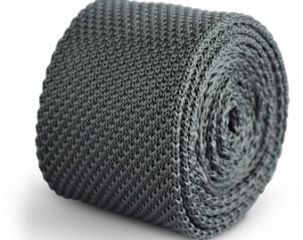 silver grey plain knitted tie by Frederick Thomas FT3280