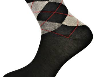 Black and Grey Argyle Socks by Frederick Thomas of London FT4002 fun, funky, colorful, wacky