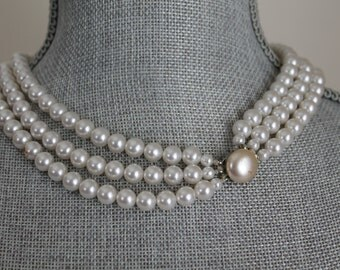 Three Strand Faux Pearl Necklace, Round Pearl Button Clasp 18 Inch 8mm 1960s
