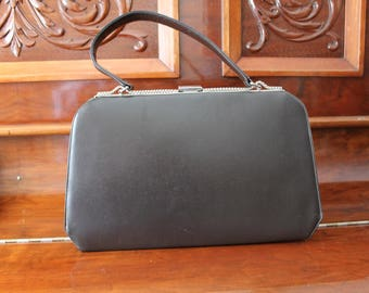 Large Brown Leather Handbag 1950s Kelly Bag Purse Silver Clasp
