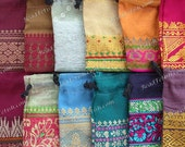 """Recycled Sari Drawstring Gift Bags, 12 Gift Pouches 3 x 2"""" Fabric Gift Bags, Multi Colored India Gift Bags, Handcrafted Bags GFTB-033-19"""