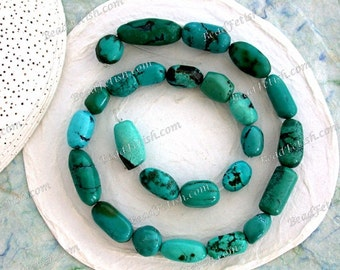 Turquoise Beads, 1 Strand 10 to 20mm Genuine Chinese Turquoise Beads, Semi Precious Stone Beads, Real Turquoise Beads SEM-019-6