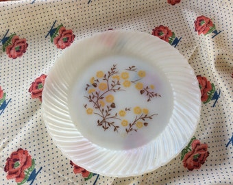 White and Yellow Plates,Translucent Plates,Vintage Dinnerware,Yellow Flowers,9 Inch Plates,Floral Plates,Cake Plates.Glass Plates,Old Plates