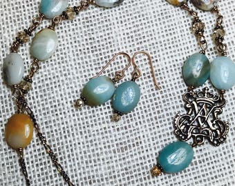 Ave Maria Bronze Necklace & Earring Set, Miraculous Medal Earrings, Amazonite, Wire Wrapped, Catholic