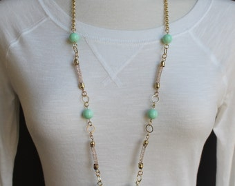 """Turquoise Gold necklace 34"""" long beaded necklace chain statement gold chain necklace super extra long sweater length"""