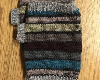 Mens hand warmers, fingerless gloves, wrist warmers, grey