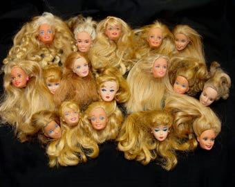 Vintage barbie doll head lot-old barbie heads lot-unique barbie heads- blonde barbie doll heads-old barbie dolls-barbie art-barbie repurpose