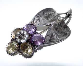 Victorian Silver Amethyst & Citrine Flower Brooch Art Nouveau Chased Silver  Heart and Flower Brooch Pin Beautiful Old Pin