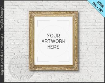 Gold Ornamental Frame 8x10 Mockup | 4 PNG scene | Empty Frame on White Wall Styled Mockup W25 | Portrait Landscape Frame