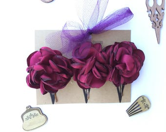Red rose flower Bobby Pins/Floral Accessories/Hair Pins/Bridal Hair/Bridesmaid Favors/Girls Flower Hair Clips