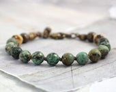 African turquoise bracelet, Chunky stone jewelry, Western, Unique gifts for cowgirls, Hand knotted beads, Bold accessory