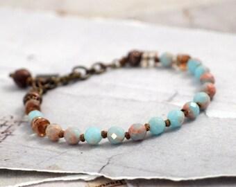Impression jasper bracelet Blue stone bracelet Sky blue jewelry Earthy jewelry Rustic bead bracelet Cowgirl jewelry Boho bracelet with clasp