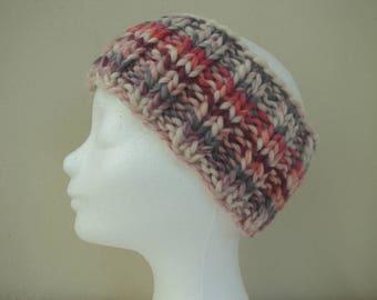 Ear warmer purple gray pink teen warm comfortable winter chunky head band knit in round yarn head band girl teenager chunky ear warmer sweet