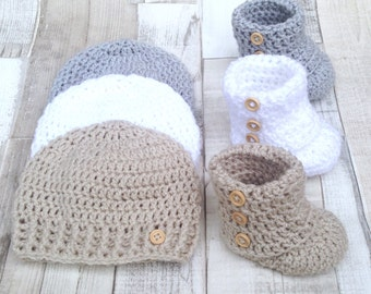 Baby booties crocheted shoes unisex gender neutral gift box set hat and shoes set crochet booties girl boy infant white grey beige uk
