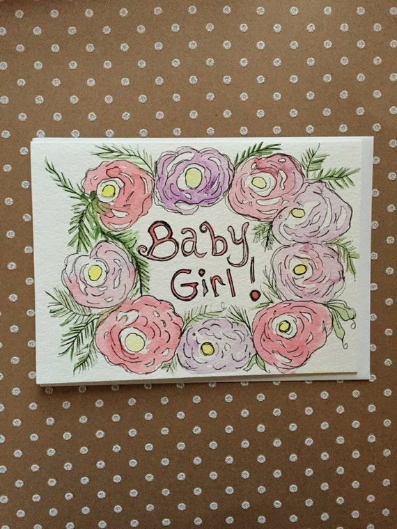 Baby Girl Card, It's A Girl Card, Baby Shower Card,