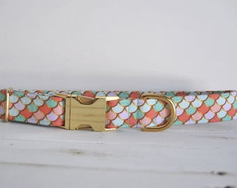 Mermaid Dog Collar, Fish Scales, Mint, Purple, Spring, Girl Dog Collar, Female, Gold Metal Buckle Dog Collar