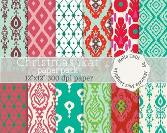 50 OFF! Ikat Digital Paper CHRISTMAS IKAT Patterns- Digital Ikat Teal Green and Red Holiday tribal backgrounds arabesques damask for gift